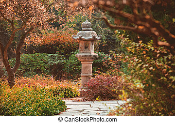 View at monument in japanese garden and alley