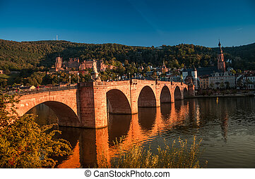 View at old town, castle and city bridge in Heidelberg,...