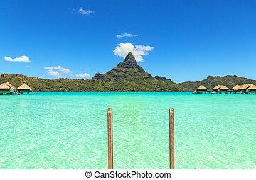 View at Otemanu mountain from luxury bungalow T Bora Bora island, Tahiti, French Polynesia