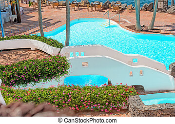 pool on tropical island