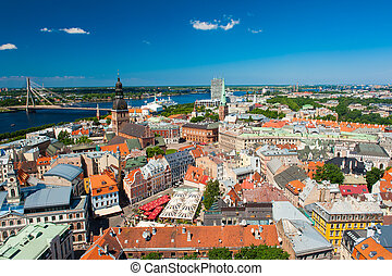 Riga - View at Riga from the tower of Saint Peter's Church,...