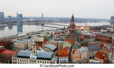 View at Riga from the tower of Saint Peter's Church, Riga,...