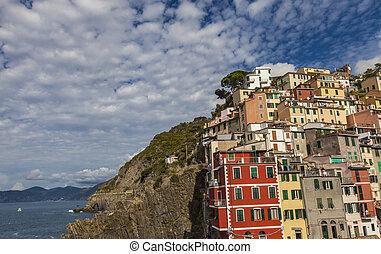 Riomaggiore - View at Riomaggiore small town in Liguria,...