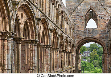 View at ruins of Jedburgh abbey in Scottish borders.