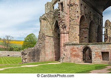 View at ruins of Melrose abbey in Scottish borders.