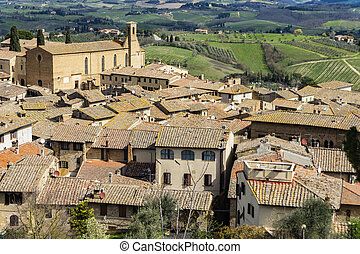 View at San Gimignano town in Italy