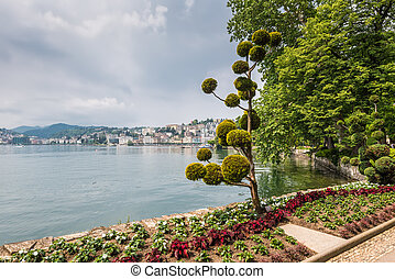 View at the bay of Lugano from the botanical garden of the city, Switzerland