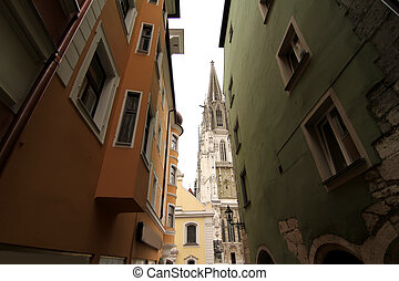 View at the Cathedral of Regensburg