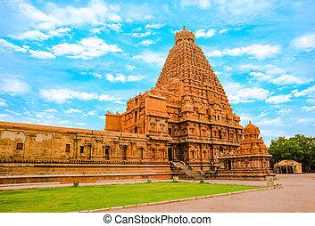 View at the tower Hindu Brihadishvara Temple, India, Tamil...