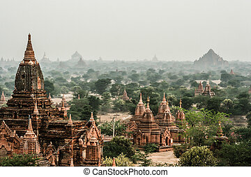 View at the valley of Bagan with his ancient pagoda's,...