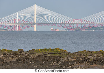 View at three bridges crossing Firth of Forth in Scotland