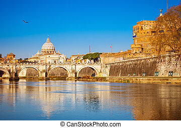Tiber and St. Peter's cathedral in Rome