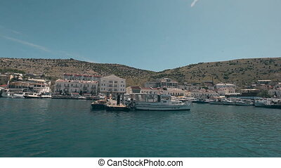 View Balaklava with a yacht that comes into the bay Resort...