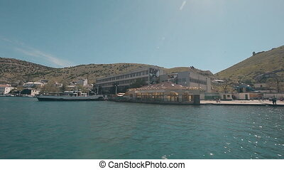 View Balaklava with a yacht that comes into the bay.Genoese...