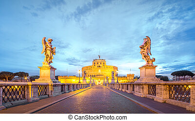 View of Castle of the Holy Angel, Castel Sant'angelo and Bridge of the Holy Angel, Ponte Sant Angelo Rome, Italy.