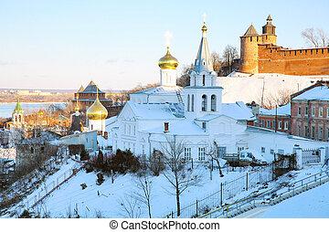 View Church of Elijah the Prophet Nizhny Novgorod in november