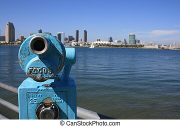 Coin-operated view finder pointed at downtown San Diego from Coronado.