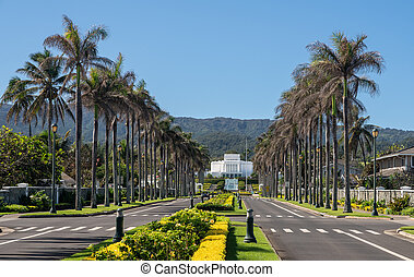 View down road towards the Laie Hawaii Temple of the church of the latter day saints on Oahu