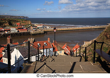 View down the steps to the harbour Whitby