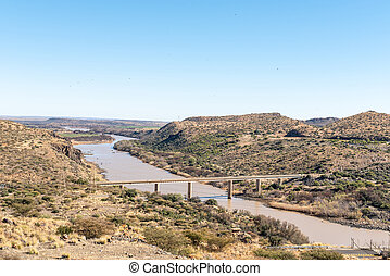 View downstream from the Vanderkloof Dam in the Orange River