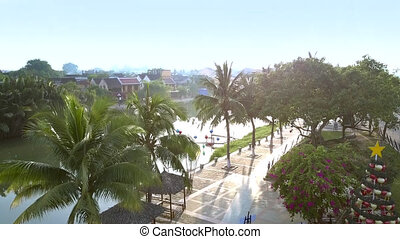 view downwads from palm tops to river waterfront - view...