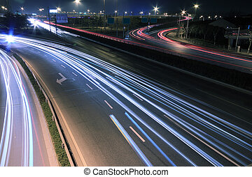 View dusk urban night traffic on the highway