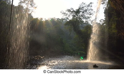 View form Cafe under the Picturesque Waterfall in Jungles at...