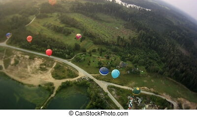 view from a basket on a balloon