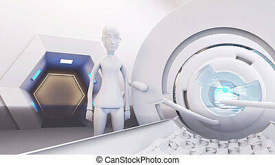 View from a bed on robot and technological equipment 3d-illustration