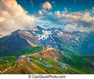 View from a bird's eye of Grossglockner High Alpine Road. ...