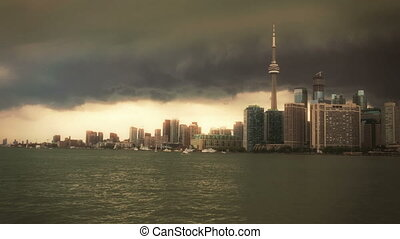 View from a boat entering Toronto Harbour. - Toronto Skyline...