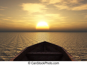 View from a boat out at sea during sunset.