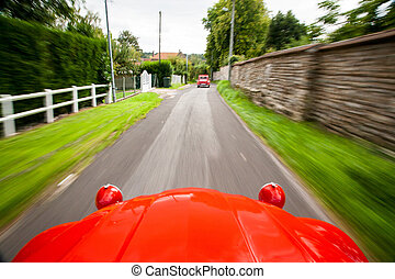 View from a fast-moving Citroen 2CV