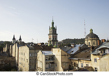 View from a height on the attractions of Lviv