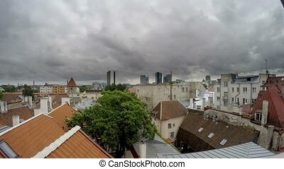 View from a house dormer-window in the old city to Tallinn,...