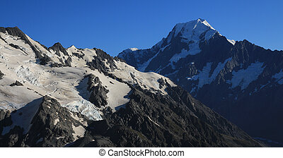View from a place near Mueller Hut. Glacier and Mount Cook.