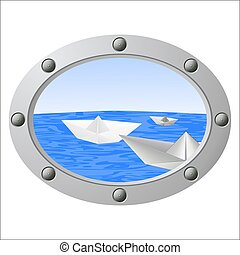 View from a porthole on the sea and floating paper boats