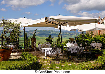 View from a restaurant in Pienza