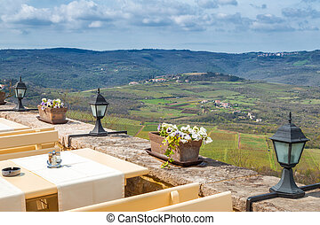 View from a restaurant in The Motovun historic town on the mountainous landscape in the interior of the peninsula of Istria, Croatia, Europe.