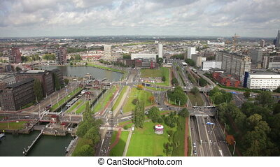 View from a television tower on canals of Rotterdam, the Netherlands