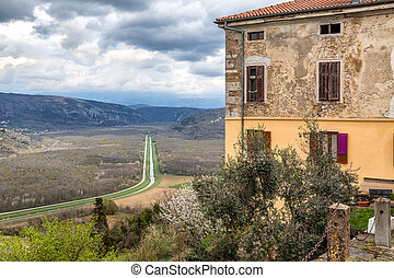 View from a The Motovun historic town on the mountainous landscape in the interior of the peninsula of Istria, Croatia, Europe.