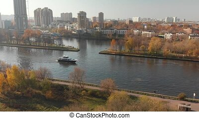 view from above Moscow Canal and Khimki city, Russia