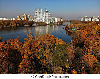 view from above Moscow Canal in Khimki, Russia - top view of...