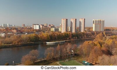 view from above Moscow Canal in Khimki, Russia
