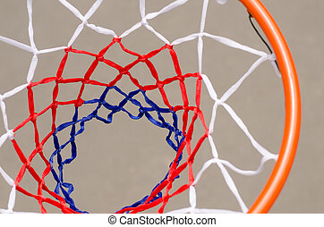 View from above of a basketball net and hoop