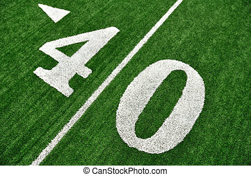 View From Above of Forty Yard Line on American Football Field
