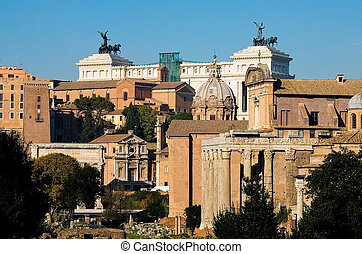 view from above of Imperial Forum in Rome with the background Piazza Venezia
