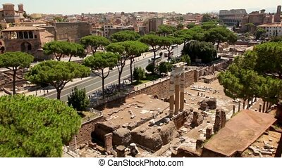View from above of Imperial Forum ruins, near the street...