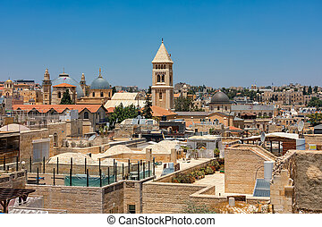 View from above of Old City of Jerusalem, Israel.