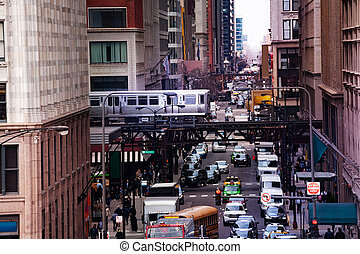 View from above of street and train metro Chicago
